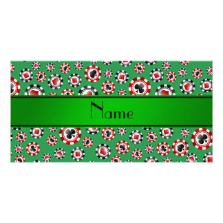 Personalized name green poker chips personalised photo card