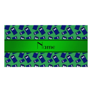 Personalized name green police box custom photo card