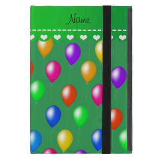 Personalized name green rainbow birthday balloons iPad mini covers
