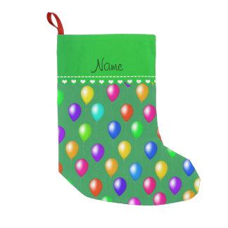 Personalized name green rainbow birthday balloons small christmas stocking