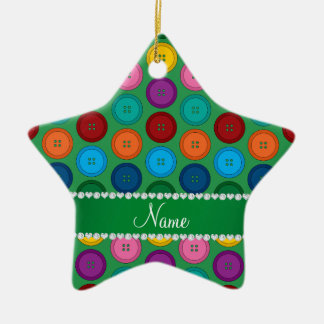 Personalized name green rainbow buttons pattern ceramic star ornament