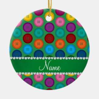 Personalized name green rainbow buttons pattern round ceramic ornament