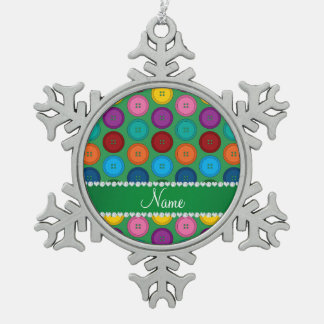 Personalized name green rainbow buttons pattern pewter snowflake ornament