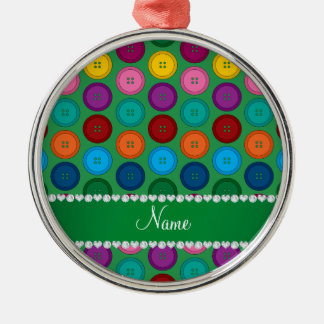 Personalized name green rainbow buttons pattern Silver-Colored round ornament