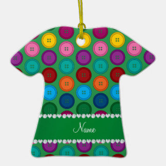 Personalized name green rainbow buttons pattern ceramic T-Shirt ornament