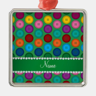 Personalized name green rainbow buttons pattern Silver-Colored square ornament