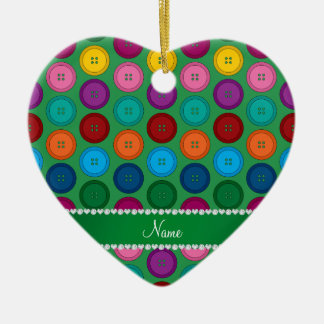 Personalized name green rainbow buttons pattern ceramic heart ornament
