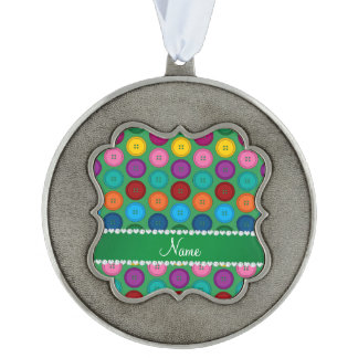 Personalized name green rainbow buttons pattern scalloped pewter ornament