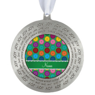 Personalized name green rainbow buttons pattern round pewter ornament