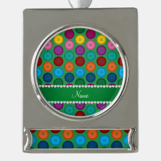 Personalized name green rainbow buttons pattern silver plated banner ornament