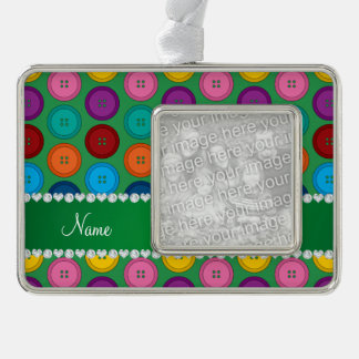 Personalized name green rainbow buttons pattern silver plated framed ornament