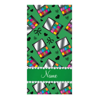 Personalized name green rainbow eyeshadow photo cards
