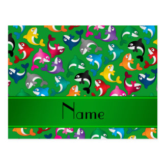 Personalized name green rainbow killer whales postcard