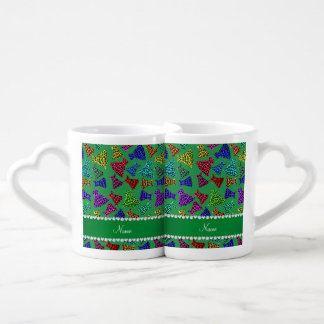 Personalized name green rainbow leopard dresses lovers mug set
