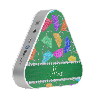 Personalized name green rainbow leopard purses