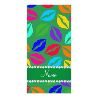 Personalized name green rainbow lipstick kisses photo card