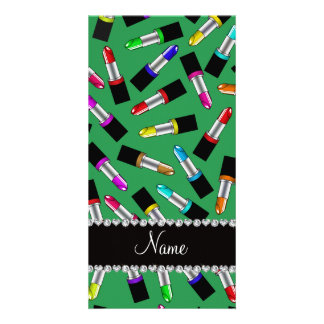 Personalized name green rainbow lipstick photo card