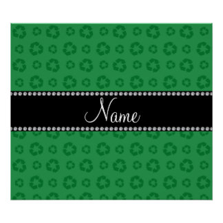 Personalized name green recycling pattern print
