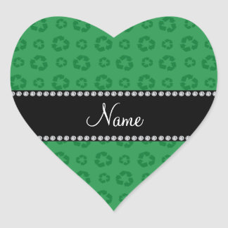 Personalized name green recycling pattern sticker
