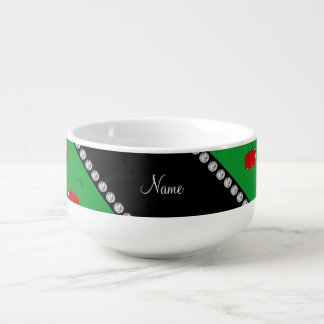 Personalized name green red cherries soup bowl with handle