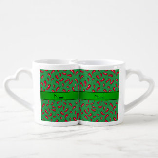 Personalized name green red chili pepper couples mug