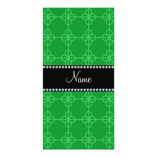 Personalized name green retro circles personalized photo card