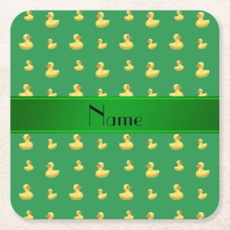 Personalized name green rubber duck pattern square paper coaster