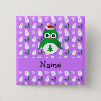 Personalized name green santa owl purple snowmen 15 cm square badge