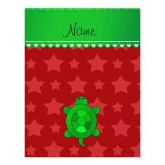 Personalized name green sea turtle red stars 21.5 cm x 28 cm flyer