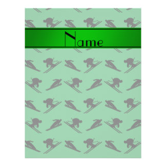 Personalized name green ski pattern full color flyer
