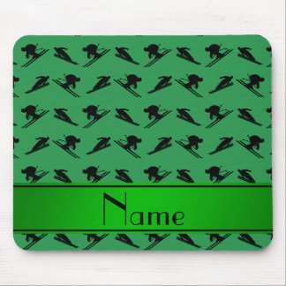 Personalized name green ski pattern mouse pad