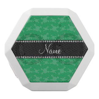 Personalized name green skulls pattern white boombot rex bluetooth speaker