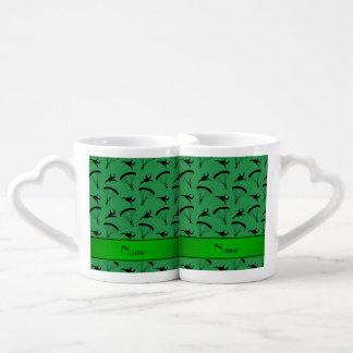 Personalized name green skydiving pattern coffee mug set