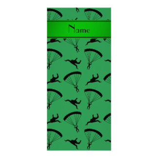 Personalized name green skydiving pattern 10 cm x 23 cm rack card