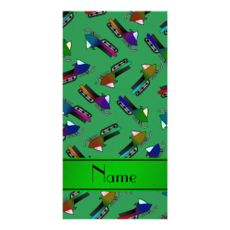 Personalized name green snowmobiles picture card