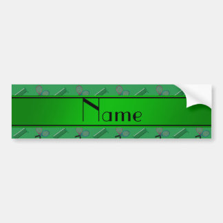 Personalized name green tennis rackets and nets bumper sticker