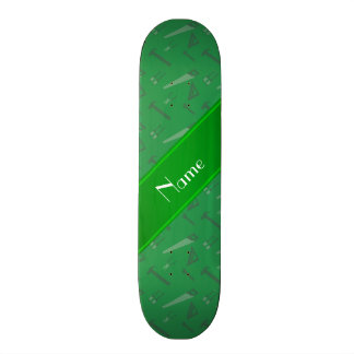 Personalized name green tools pattern 21.6 cm skateboard deck