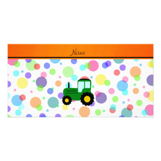 Personalized name green tractor rainbow polka dots photo greeting card