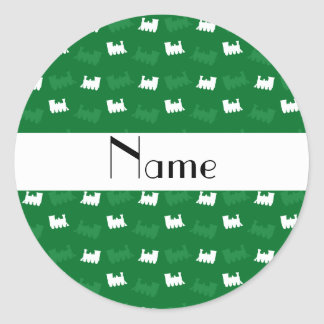 Personalized name green train pattern round stickers