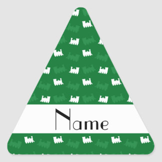 Personalized name green train pattern triangle stickers