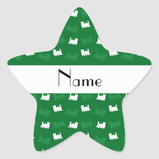 Personalized name green train pattern stickers