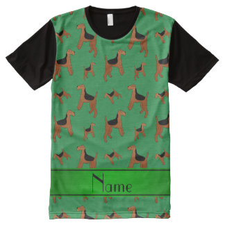 Personalized name green Welsh Terrier dogs All-Over Print T-Shirt