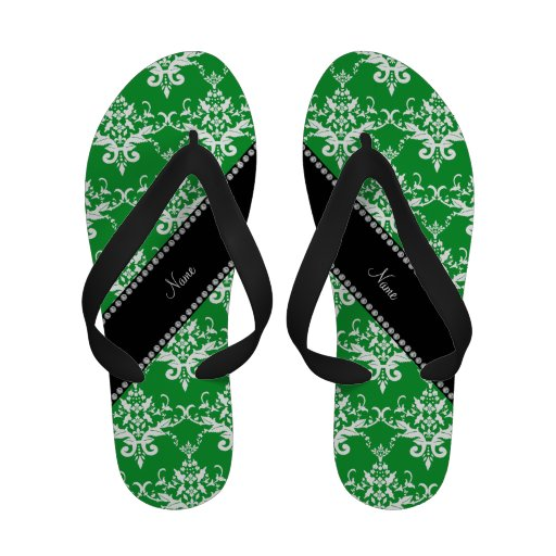 Personalized name green white damask Flip-Flops