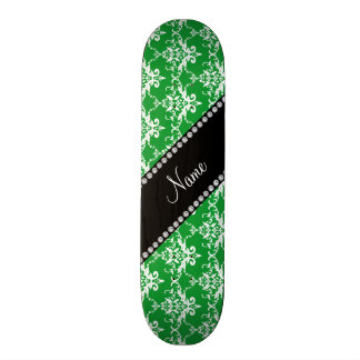 Personalized name green white damask skateboard