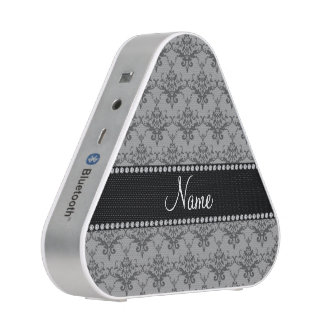 Personalized name Grey damask Speaker