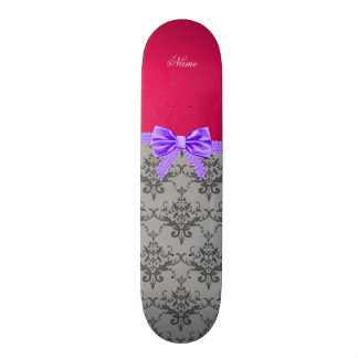 Personalized name grey damask pink purple bow skate deck