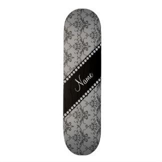 Personalized name Grey damask Custom Skate Board