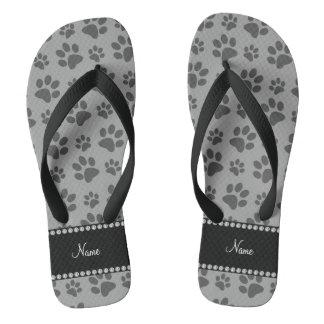 Personalized name grey dog paw prints thongs
