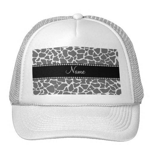 Personalized name grey giraffe pattern hats