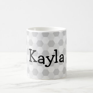 Personalized Name Grey hexagon background Coffee Mug